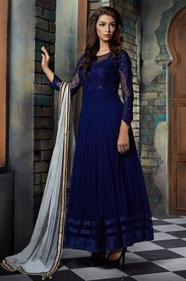 Navy blue net embroidered semi stitched salwar with dupatta