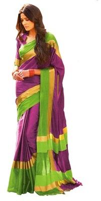 purple hand woven art silk saree with blouse