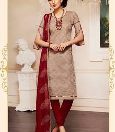 Buy brown chanderi embroidered semi stitiched salwar with dupatta salwar-kameez-below-2000 online