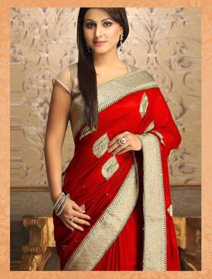 Gorgeous New Attractive Red Designer Saree