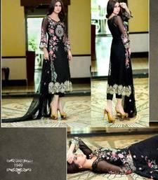 Buy LATEST BLACK DESIGNER LONG SLEEVE STRAIGHT SUIT semi-stitched-salwar-suit online
