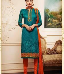 Buy Blue chanderi embroidered semi stitiched salwar with dupatta collar-neck-design online