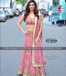 Buy pink embroidered net unstitched lehenga bollywood-lehenga online