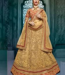 Buy cream embroidered georgette unstitched lehenga choli bridal-lehenga online