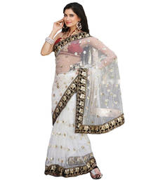 Buy White embroidered net saree with blouse net-saree online