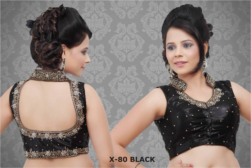Stand Collar Neck Designs For Blouse : Buy collar embroidered sleeveless saree blouse b