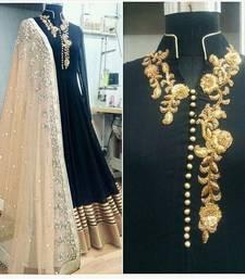 Buy black embroidered dupion silk semi stitched salwar with dupatta anarkali-salwar-kameez online