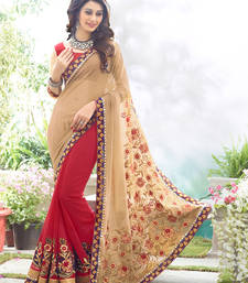 Buy Cream  and  Maroon  embroidered georgette saree with blouse party-wear-saree online