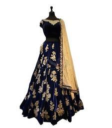 Buy Blue embroidered Benglori semi stitched Lehengas Choli bridal-lehenga online