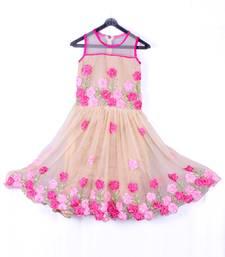 Buy Chiku color net fabric ribbon flower embroidrery work frock eid-kids-wear online