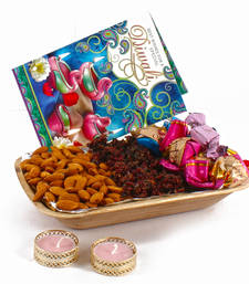 Buy Diwali diya hamper included pan masala almonds and chocolates with greeting card diwali-gift online