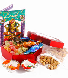Buy Diwali bandhani diyas greeting card hamper included sugar jelly candy with blues chocolate and pistachio nuts diwali-gift online