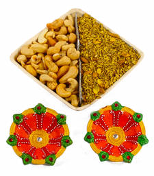 Buy Salted mouth freshener bowl with earthen diya diwali-dry-fruit online