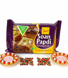 Buy Diwali combo hamper with metal diya and soan papdi diwali-gift online