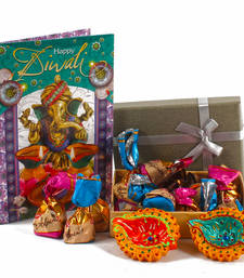 Buy Alpines imported assorted chocolates with diwali card and diyas diwali-gift online