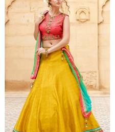 Buy Yellow embroidered silk unstitched lehenga ethnic-lehenga online