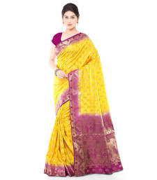 Buy Gold woven art silk saree with blouse art-silk-saree online