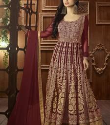 Buy Maroon embroidered georgette semi stitched indian wedding outfit wedding-salwar-kameez online