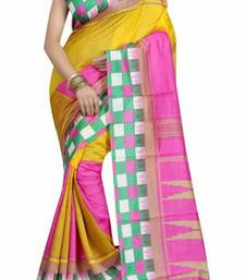 Buy Pink printed bhagalpuri silk saree with blouse bhagalpuri-silk-saree online