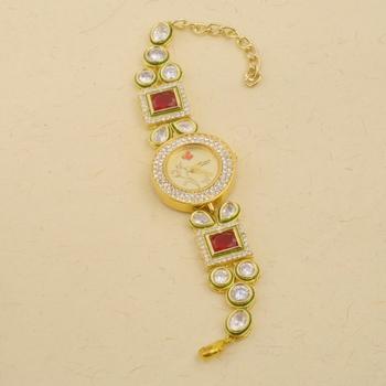 Kundan  and  stone studded adjustable wrist watch for women