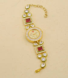 Buy Kundan  and  stone studded adjustable wrist watch for women karva-chauth-gift online