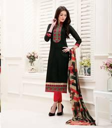 Buy Black embroidered chanderi unstitched salwar with dupatta salwars-and-churidar online