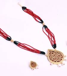 Buy Maroon Thewa necklaces Necklace online