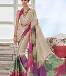 Buy Cream printed crepe saree with blouse crepe-saree online