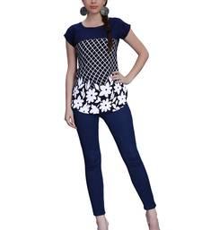 Buy Blue printed crepe tops top online
