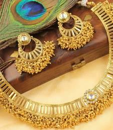 Buy ROYAL DESIGNER GOLD CLUSTER CHOKER NECKLACE SET-DJ01469 south-indian-jewellery online