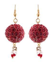 Buy Handmade Maroon Lac Ball Jhumka Set hoop online