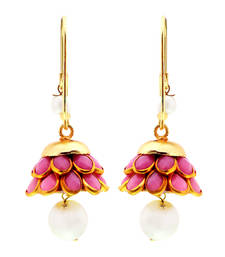 Buy Traditional Peach and Golden Brass Earrings hoop online