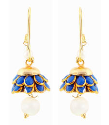 Buy Rajasthani Design Blue n Golden Beautiful Brass Earring hoop online