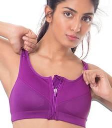 """Buy Purple """"Perform"""" Zip-Front Sports Bra bra online"""