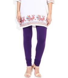 Buy Purple cotton lycra stitched leggings legging online