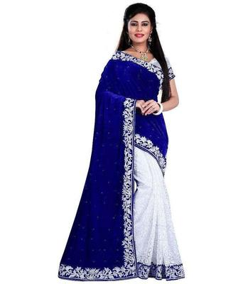 Blue embroidred velvet saree with blouse