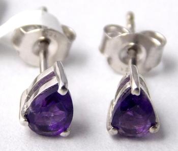 Purple Amethyst Sterling Silver semi precious gemstone earrings