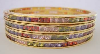 SINGLE LINE STONE SETTED 4 PICS MULTI COLOUR ZERKON STONES BANGLES