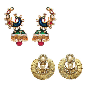 Antique Gold Plated Combo of Laxmiji & Peacock Earrings with Artificial Pearls