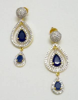 Designer NAVY BLUE CZ EARRING