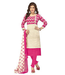 Buy Pink printed cotton unstitched salwar with dupatta Woman online