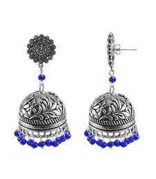 Buy Antiquated Black Metal Ganesha Jhumki Earrings With Tiny Blue Crystals jhumka online