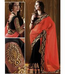 Buy Orange & Black embroidered georgette saree with blouse gifts-for-wife online
