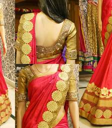 Buy Red embroidered art silk saree with blouse party-wear-saree online