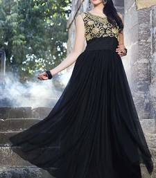 Buy Black Net embroidered semi stitiched party wear gowns party-wear-gown online