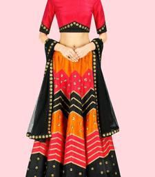 Buy Red printed silk semi stitched pakistani lehenga eid-lehenga online