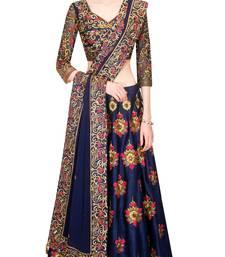 Buy Blue embroidered silk unstitched lehenga lehenga-choli online