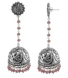 Buy Purple beaded jewellery jhumkas jhumka online
