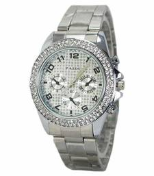 Buy Silver colour latest stainless steel strap anlong wrist watch watch online