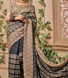 Buy Black printed bhagalpuri silk saree with blouse bhagalpuri-silk-saree online